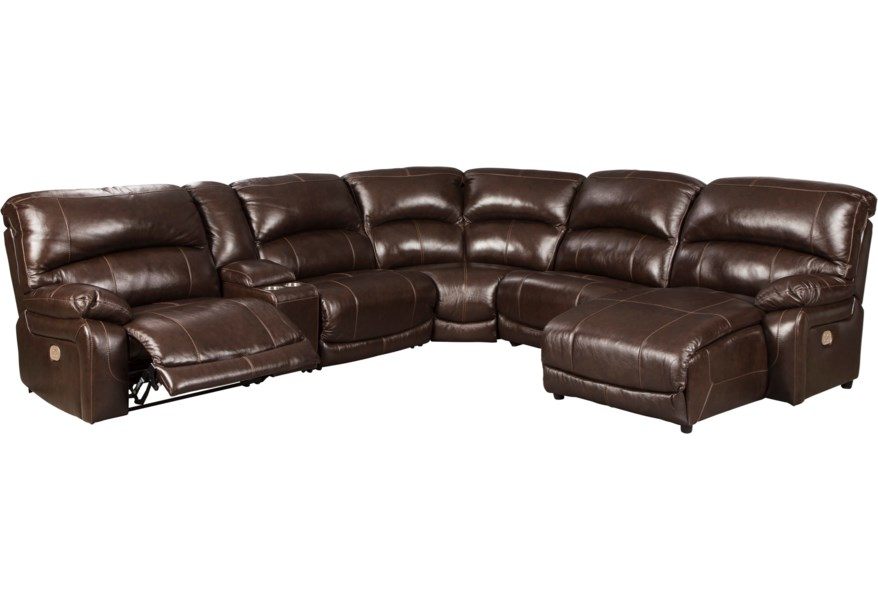 Hallstrung Leather Match 6-Piece Reclining Sectional with Right Chaise &  Console by Signature Design by Ashley at Houston\'s Yuma Furniture