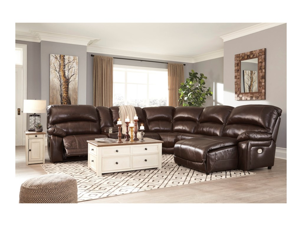 Ashley (Signature Design) Hallstrung6-Piece Reclining Sectional with Chaise
