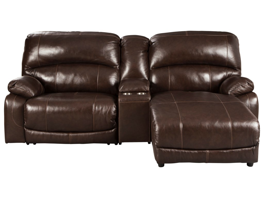 Ashley (Signature Design) Hallstrung3-Piece Recl Sectional w/ Chaise & Console