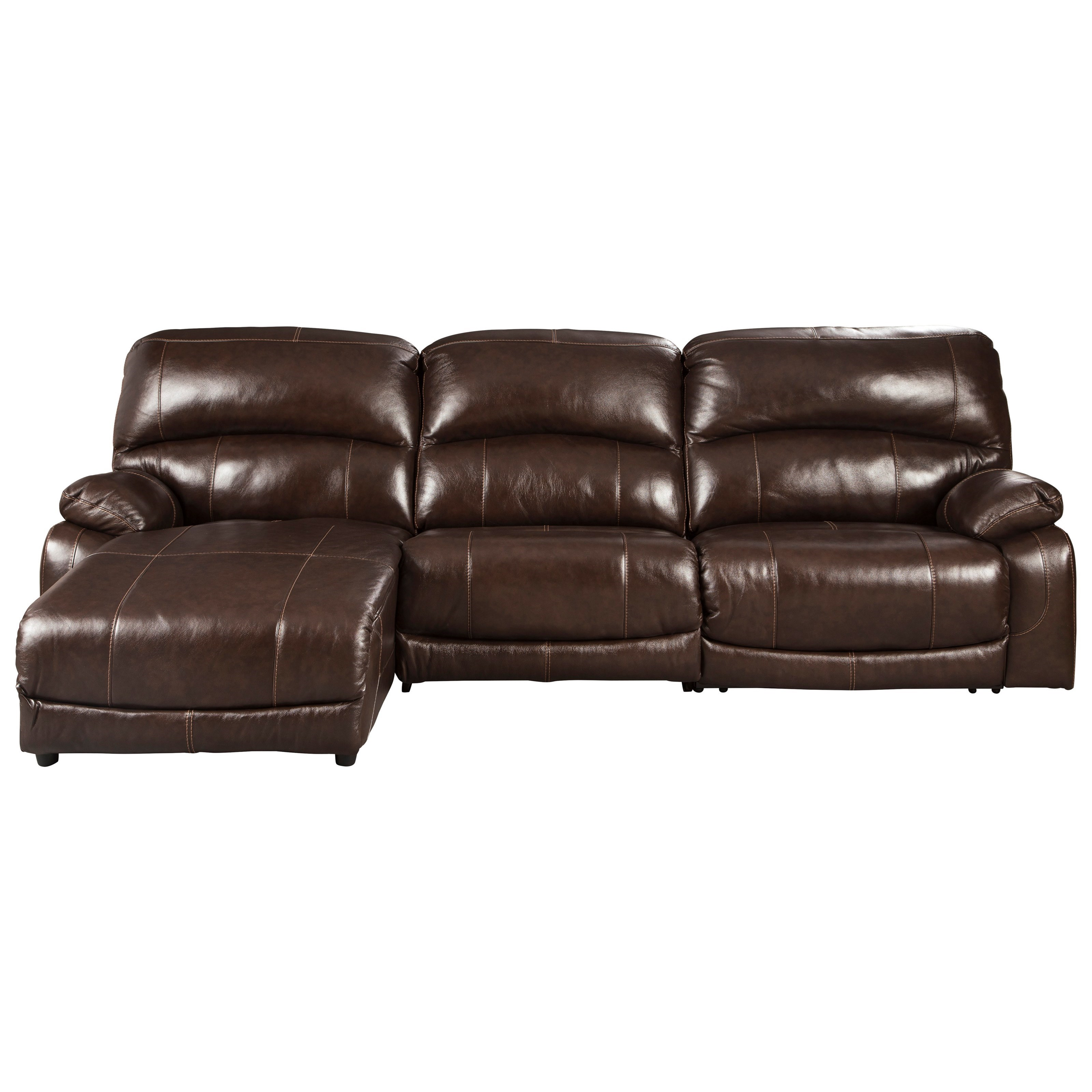Leather Match 3-Piece Reclining Sectional with Left Chaise