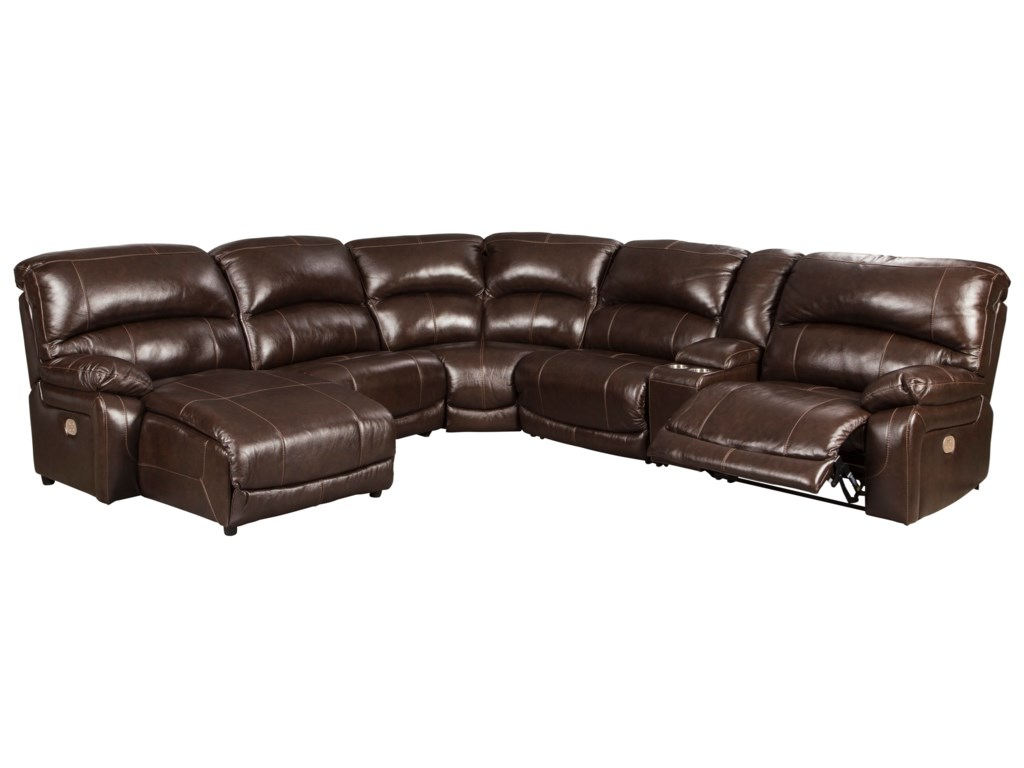 Hallstrung Leather Match 6-Piece Reclining Sectional with Left Chaise &  Console by Signature Design by Ashley at John V Schultz Furniture