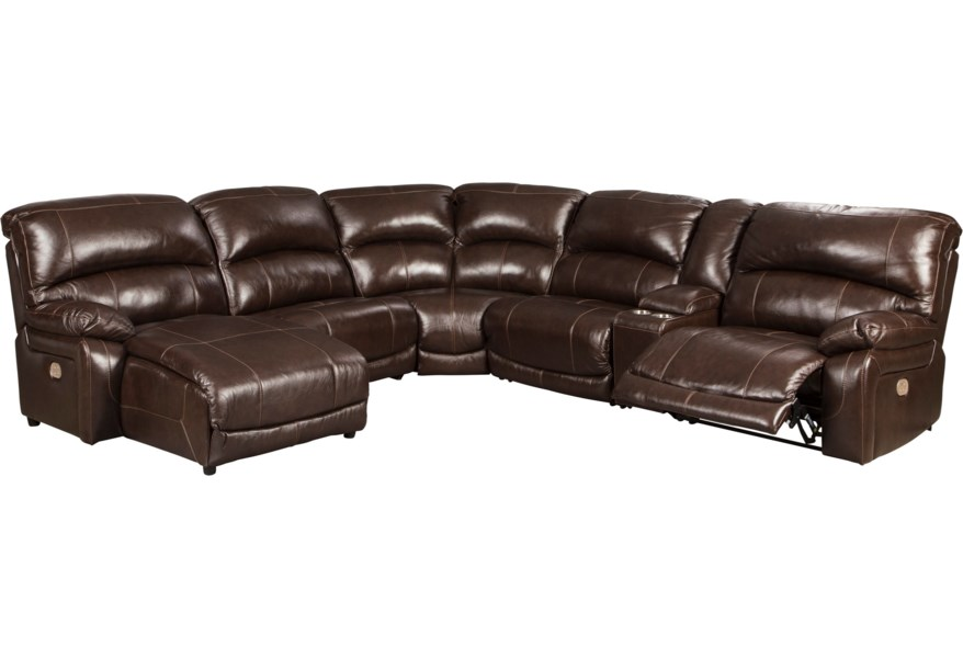 Hallstrung Leather Match 6-Piece Reclining Sectional with Left Chaise &  Console by Signature Design by Ashley at Houston\'s Yuma Furniture