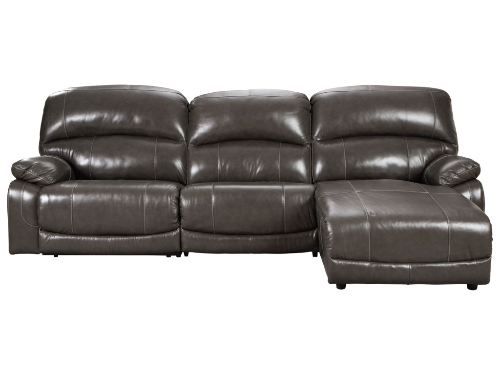 Hallstrung Leather Match 3-Piece Reclining Sectional with Right Chaise by  Signature Design by Ashley at Pilgrim Furniture City