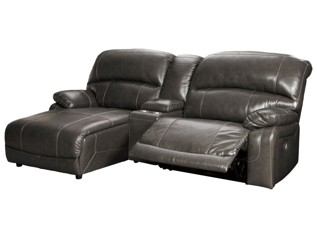 Signature Design by Ashley Hallstrung3-Piece Recl Sectional w/ Chaise & Console