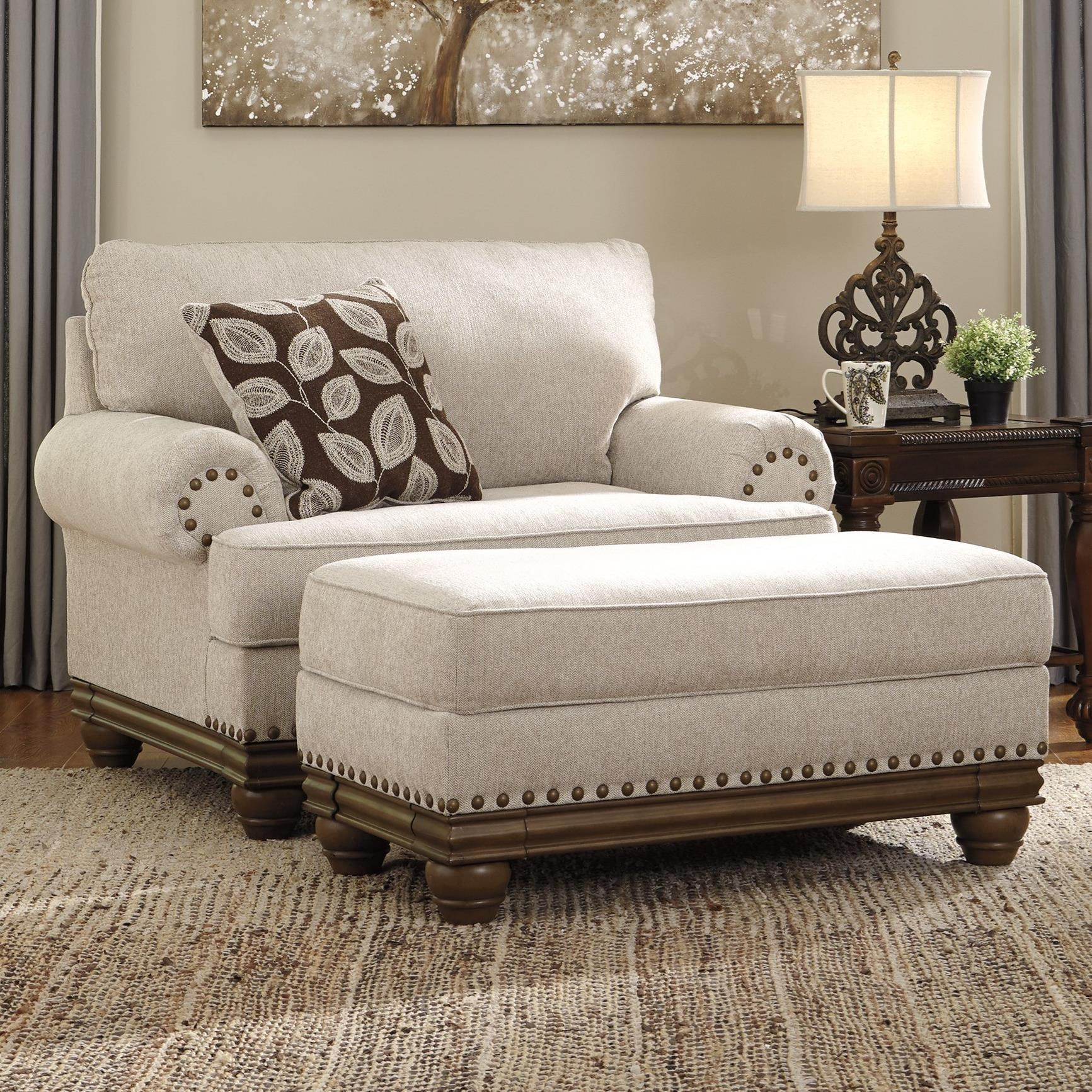 Transitional Chair and a Half & Ottoman