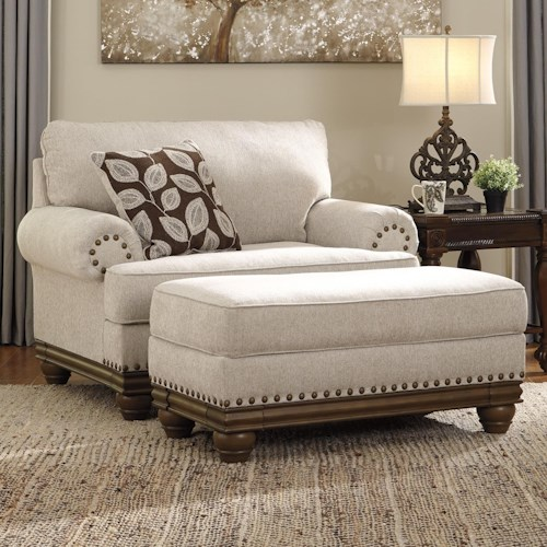 Signature Design by Ashley Harleson Transitional Chair and a Half & Ottoman