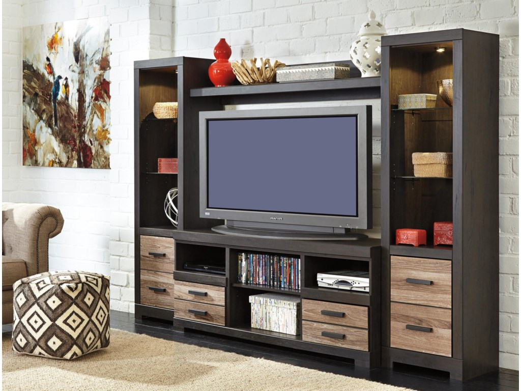Signature Design by Ashley HarlintonLarge TV Stand & 2 Tall Piers w/ Bridge