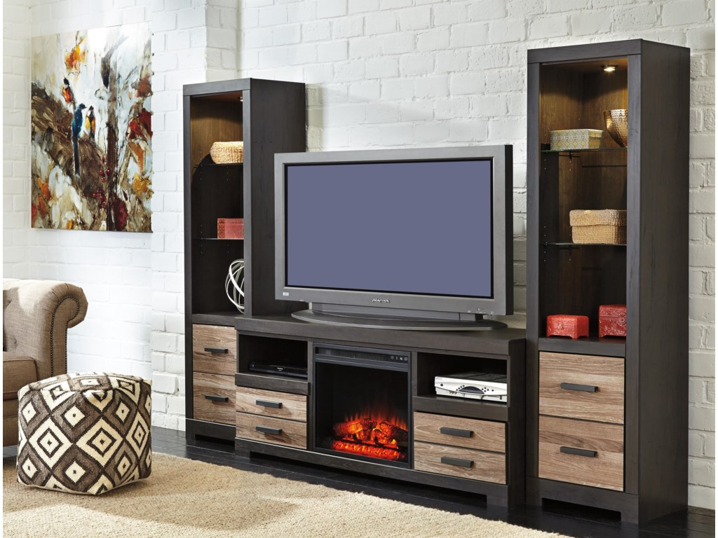 Signature Design by Ashley HarlintonLarge TV Stand w/ Fireplace & 2 Tall Piers
