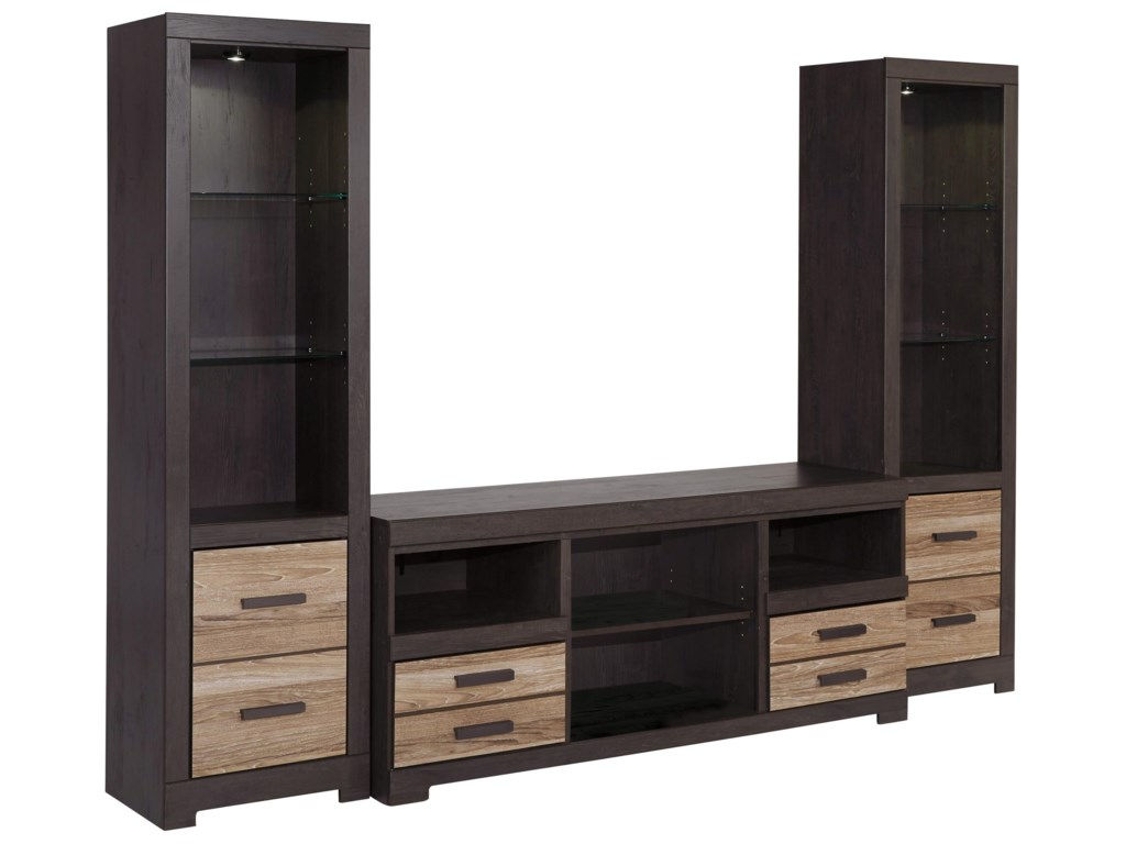 Signature Design by Ashley HarlintonLarge TV Stand & 2 Tall Piers