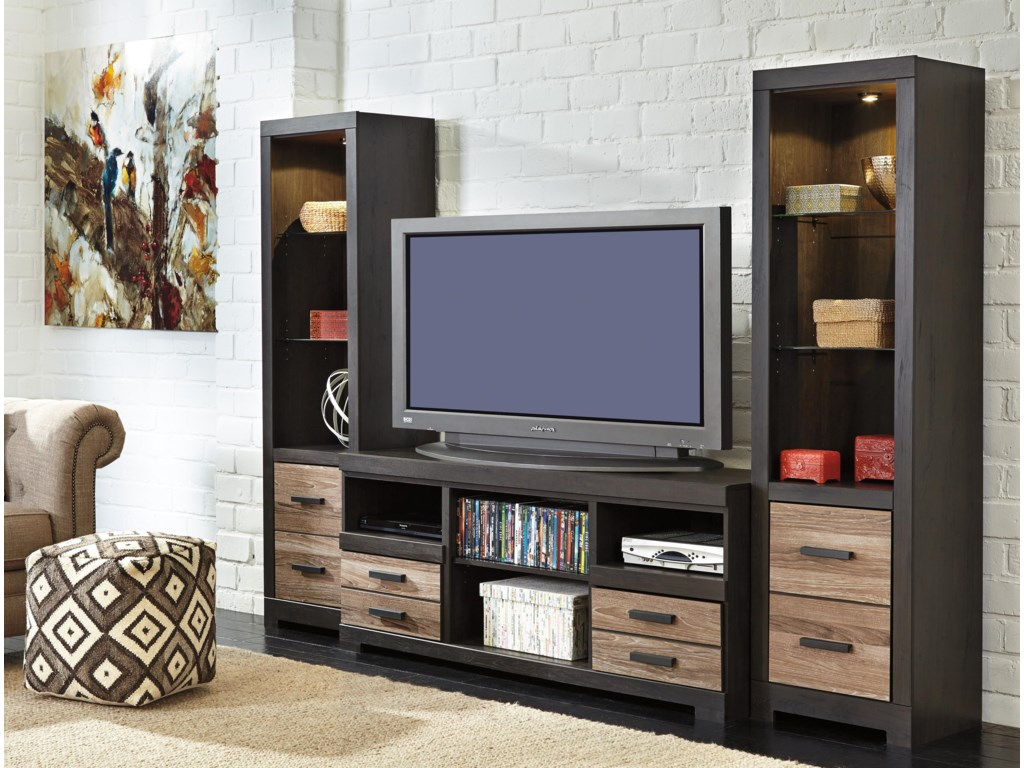 Ashley (Signature Design) HarlintonLarge TV Stand & 2 Tall Piers