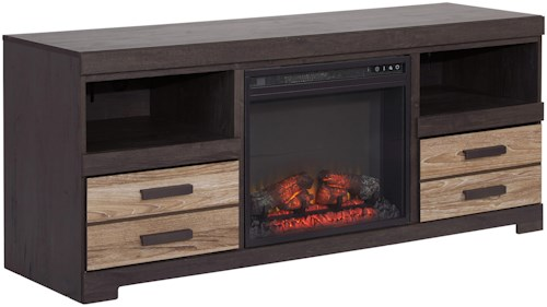 Signature Design by Ashley Harlinton Contemporary Two-Tone Large TV Stand with Fireplace Insert