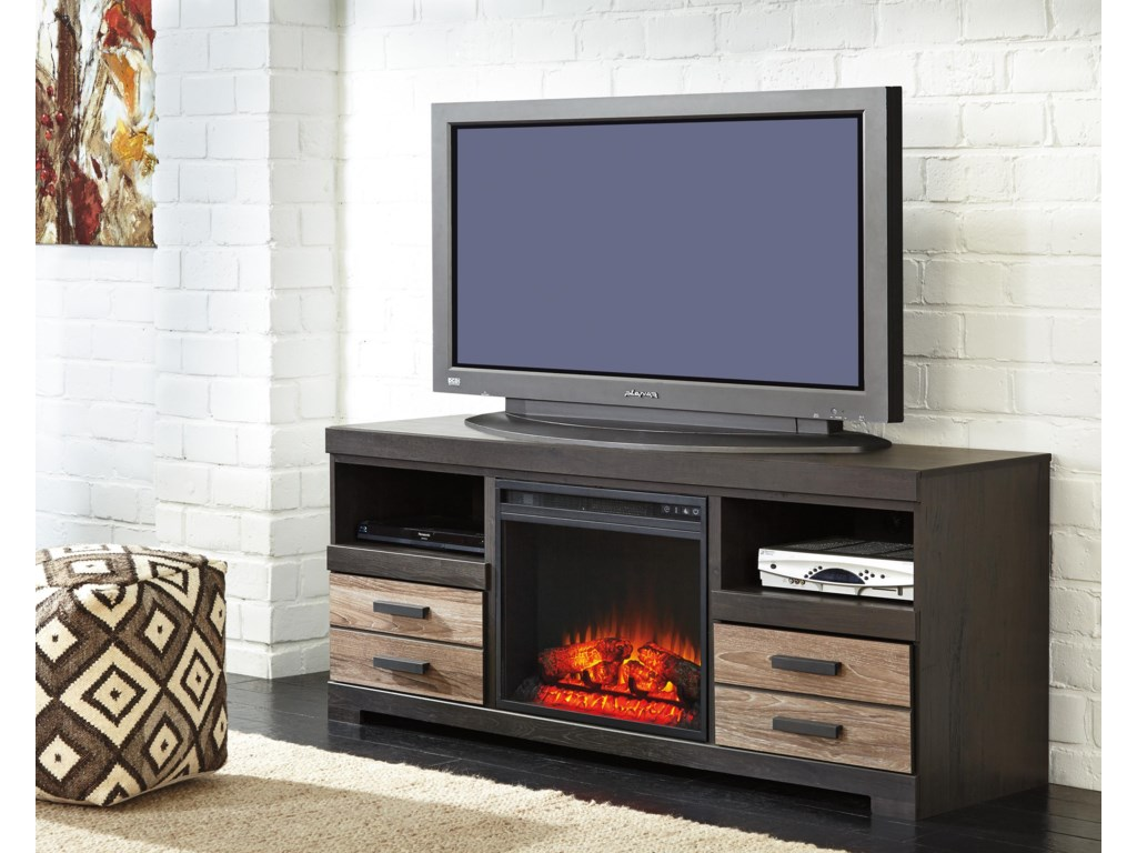 Signature Design by Ashley HarlintonLarge TV Stand w/ Fireplace Insert