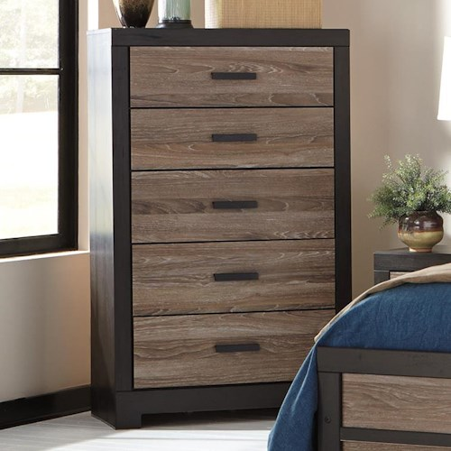 Signature Design by Ashley Harlinton Rustic Two-Tone Five Drawer Chest