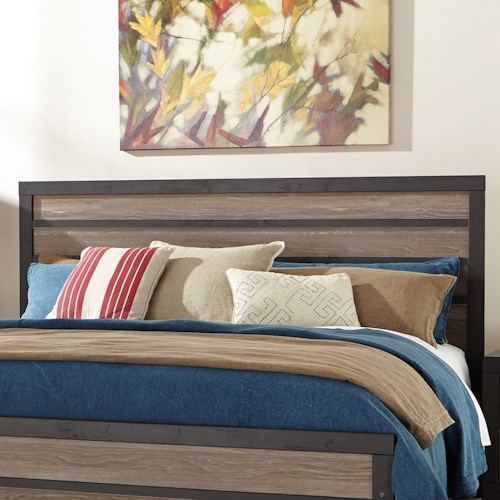 Signature Design by Ashley Harlinton Rustic Queen/Full Panel Headboard with Two-Tone Plank Look