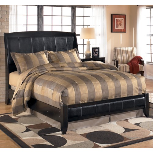 Signature Design by Ashley Harmony King Upholstered Sleigh Headboard with Platform Style Footboard