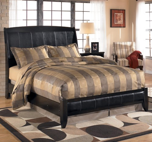 Signature Design by Ashley Harmony Queen Upholstered Sleigh Headboard with Platform Style Footboard
