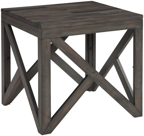 Signature Design By Ashley Haroflyn Square End Table With Butcher Block Style Top