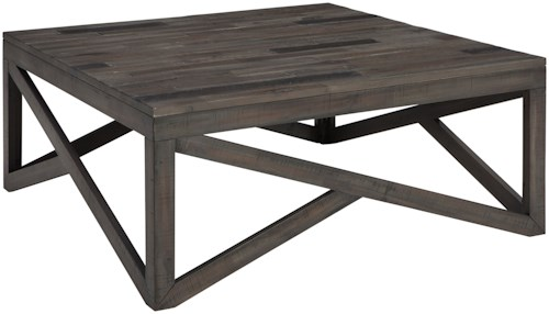 Signature Design by Ashley Haroflyn Square Cocktail Table with Butcher Block Style Top