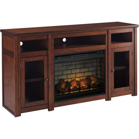 Extra Large TV Stand with Fireplace Insert
