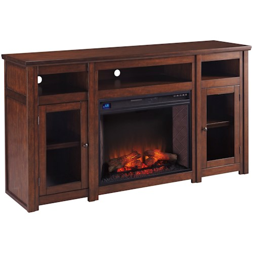 Signature Design by Ashley Harpan Mango Veneer Extra Large TV Stand with Fireplace Insert & Glass Doors