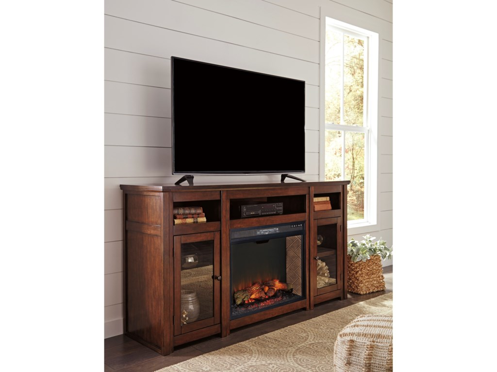 Signature Design by Ashley HarpanExtra Large TV Stand w/ Fireplace Insert