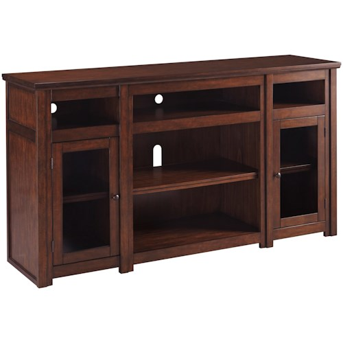 Signature Design by Ashley Harpan Mango Veneer Extra Large TV Stand with Glass Doors