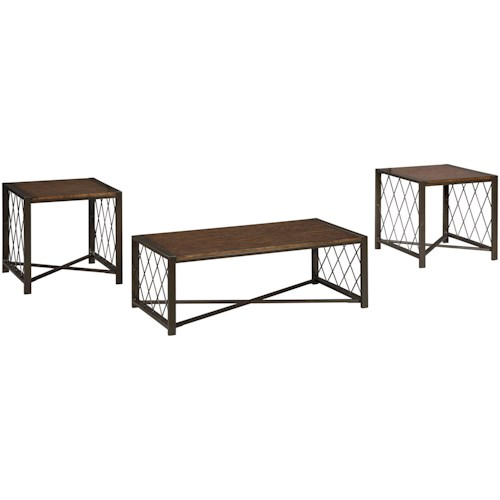 Signature Design by Ashley Harpan Contemporary Metal/Wood Occasional Table Set