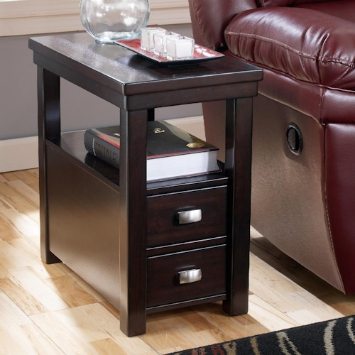 Signature Design by Ashley Hatsuko Chairside End Table with 2 Drawers & 1 Shelf