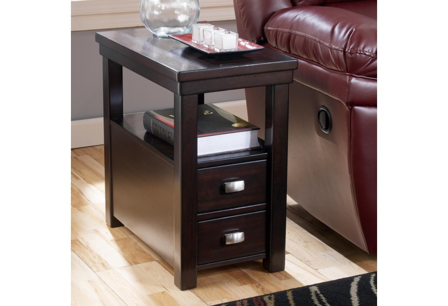 Hatsuko Chairside End Table With 2 Drawers 1 Shelf By Ashley Signature Design At Dunk Bright Furniture