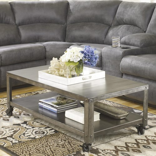 Signature Design by Ashley Hattney Rectangular Industrial Metal Cocktail Table