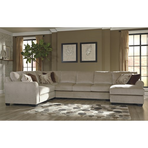 Benchcraft hazes 4 piece sectional w armless sofa right for 4 piece sectional with chaise