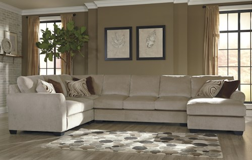 Benchcraft Hazes 4-Piece Sectional w/ Armless Sofa & Right Chaise