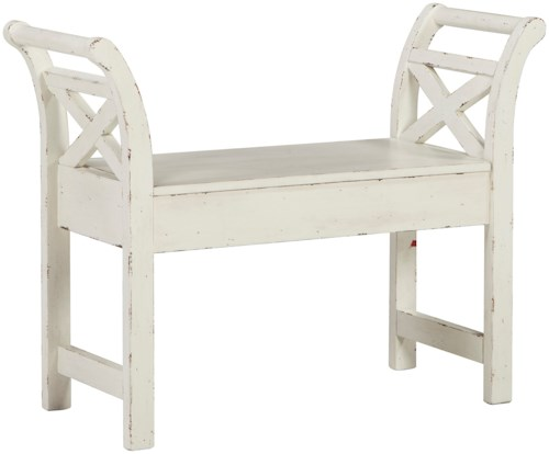 Signature Design by Ashley Heron Ridge Antique Finish Accent Bench with Storage