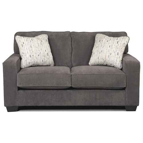Signature Design By Ashley Hodan Marble Contemporary Loveseat With Track Arms Furniture