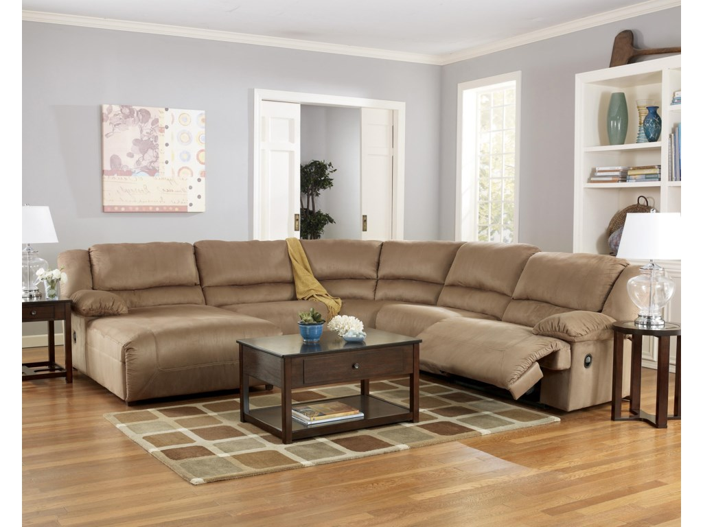 Signature Design by Ashley Hogan - Mocha5 Piece Motion Sectional with Chaise
