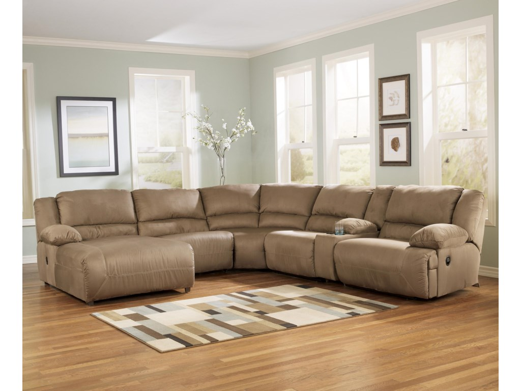 Ashley Signature Design Hogan Mocha6 Piece Sectional Sofa Group