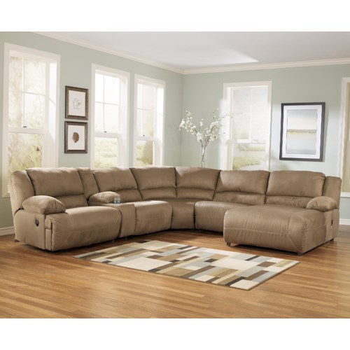 Signature Design By Ashley Hogan Mocha 6 Piece Motion Sectional With Right Chaise And Console