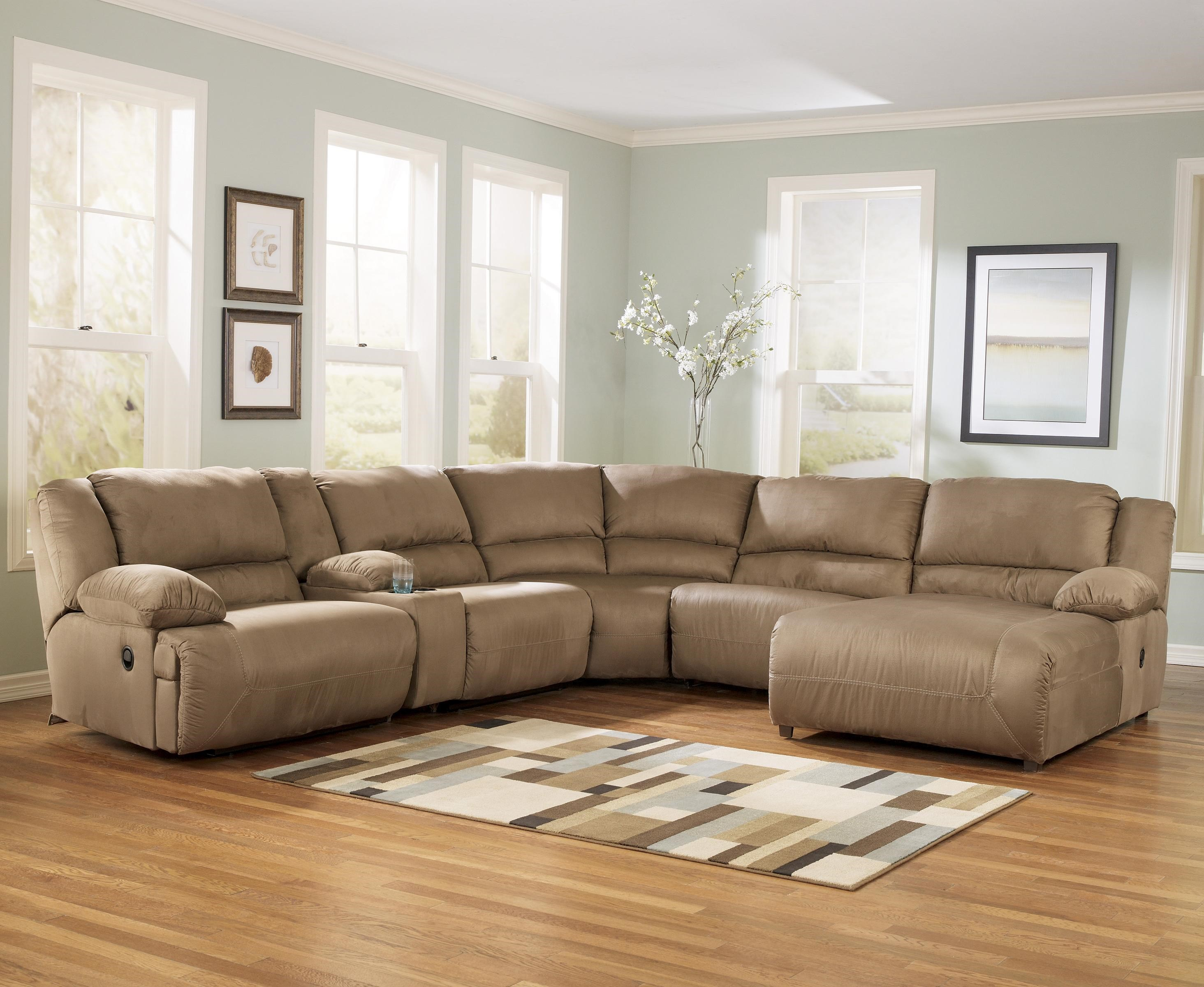 Exceptionnel Signature Design By Ashley Hogan   Mocha 6 Piece Motion Sectional With  Right Chaise And Console