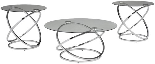 Signature Design by Ashley Hollynyx Occasional Table Set with Tempered Glass Table Top