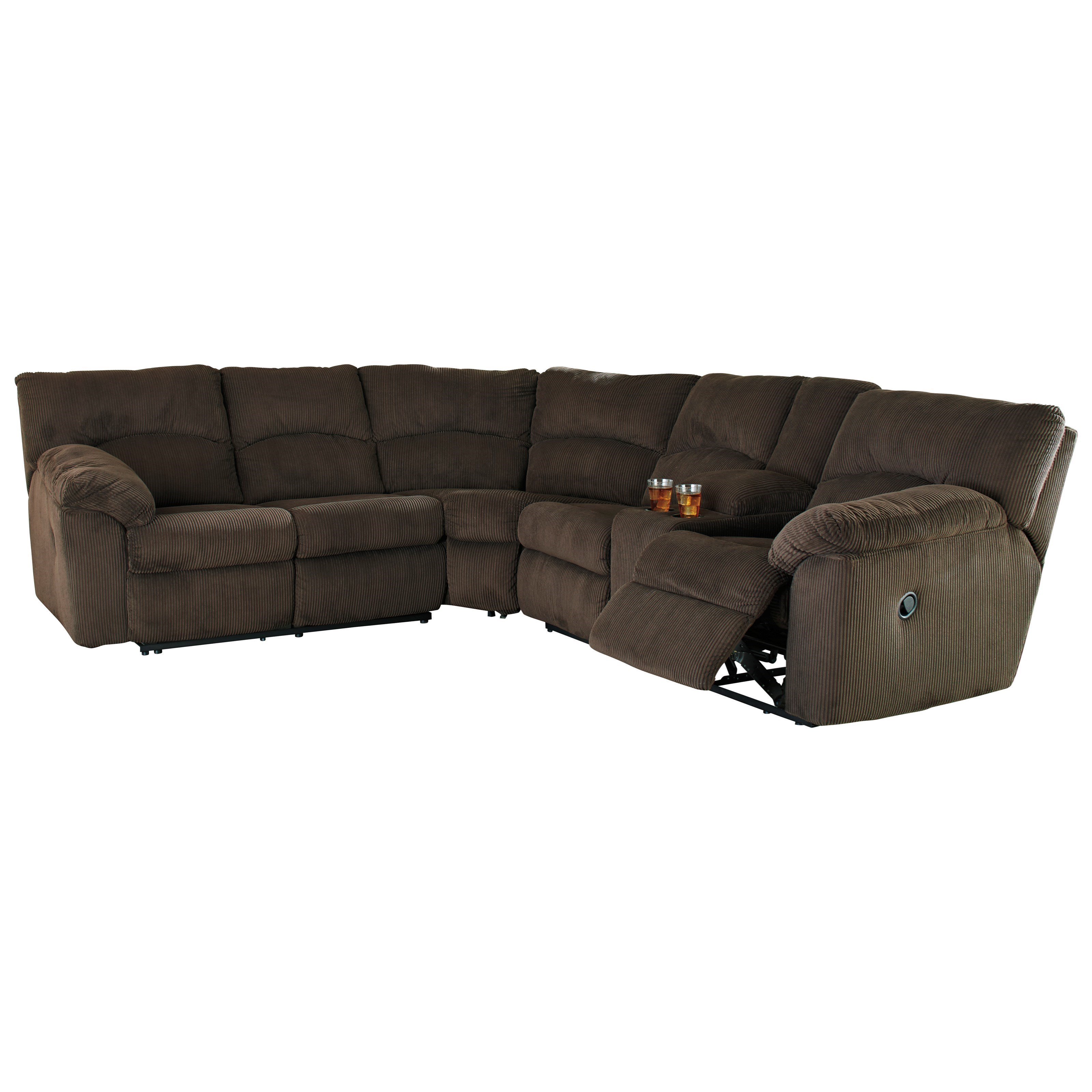 Signature Design by Ashley Hopkinton Reclining Sectional with 2 Cup Holders u0026 Storage Console - Household Furniture - Reclining Sectional Sofas  sc 1 st  Household Furniture : reclining sectional with cup holders - Sectionals, Sofas & Couches