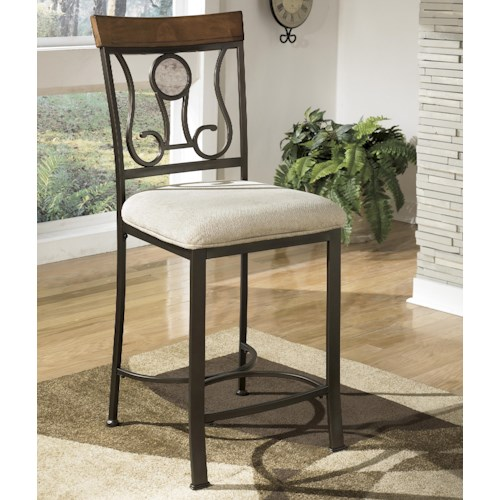 Signature Design by Ashley Hopstand Upholstered Barstool with Harp Back