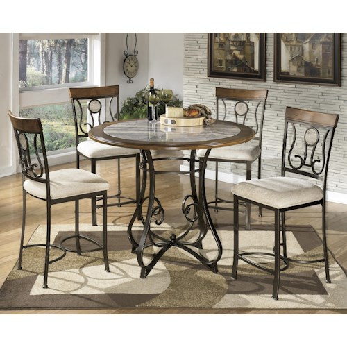 Signature Design by Ashley Tilley 5-Piece Round Counter Table Set with Steel Frame & Faux Marble Table Top