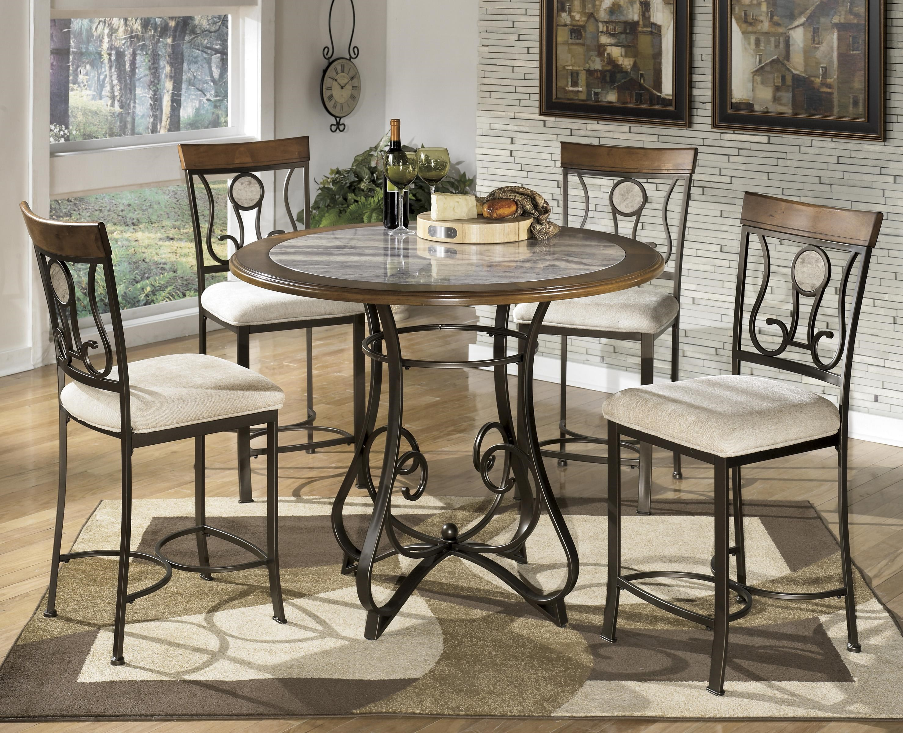 Signature Design By Ashley Hopstand 5 Piece Round Counter Table Set With  Steel Frame U0026