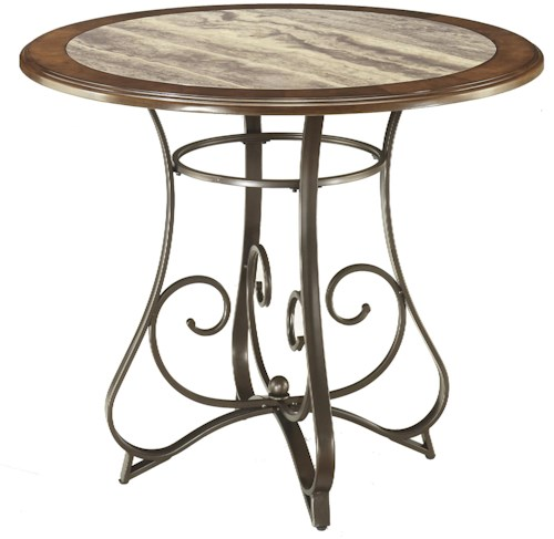 Signature Design by Ashley Hopstand Round Counter Table with Steel Base & Faux Marble Top