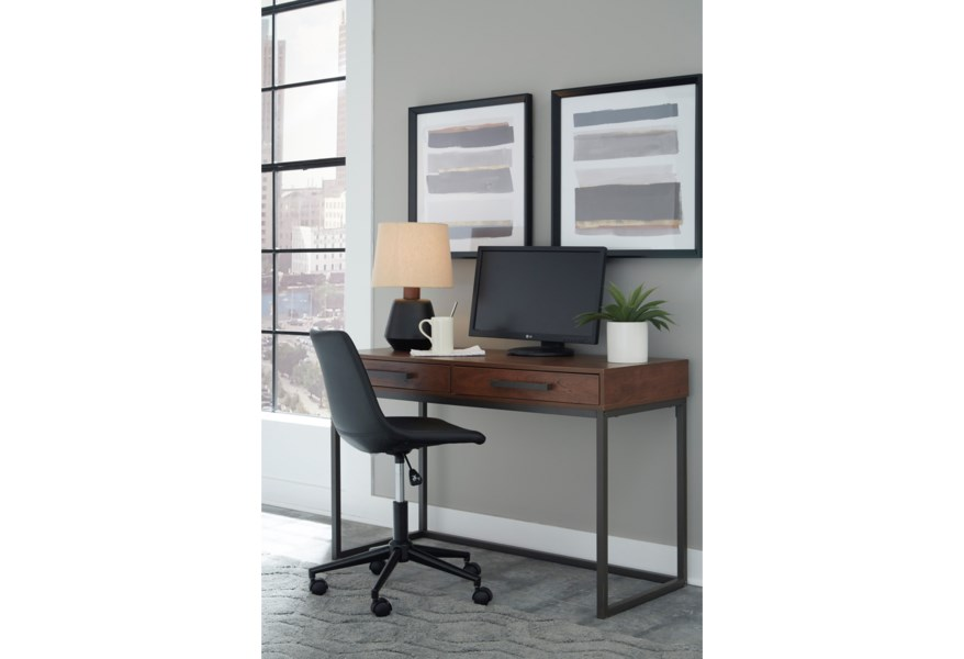 Signature Design By Ashley Horatio Home Office Small Desk With 2 Drawers Standard Furniture Table Desks Writing Desks