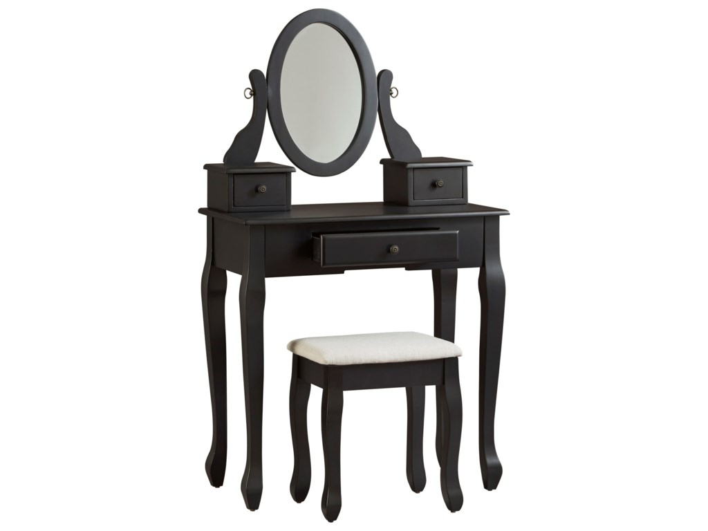 Ashley Signature Design Huey Vineyard3-Piece Vanity Set with Mirror and Stool