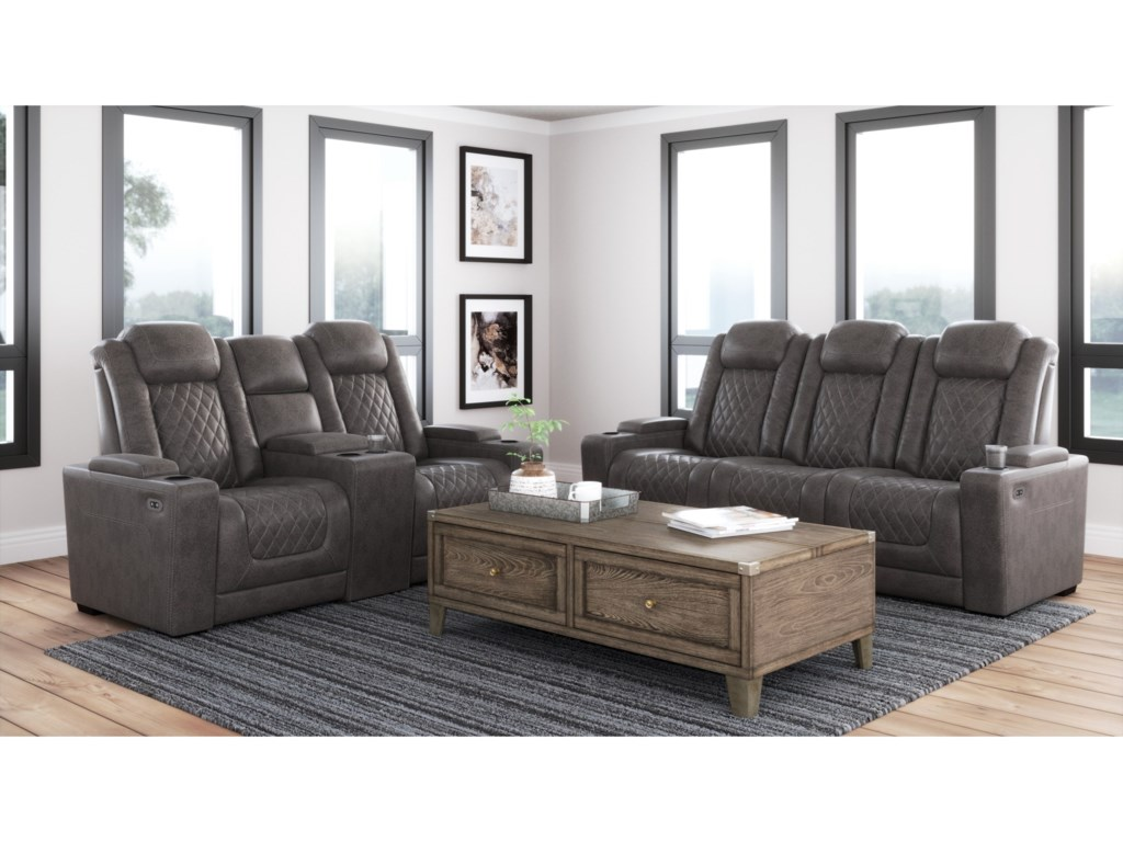 Signature Design by Ashley HyllmontPwr Rec Loveseat with Console and Adj Hdrsts