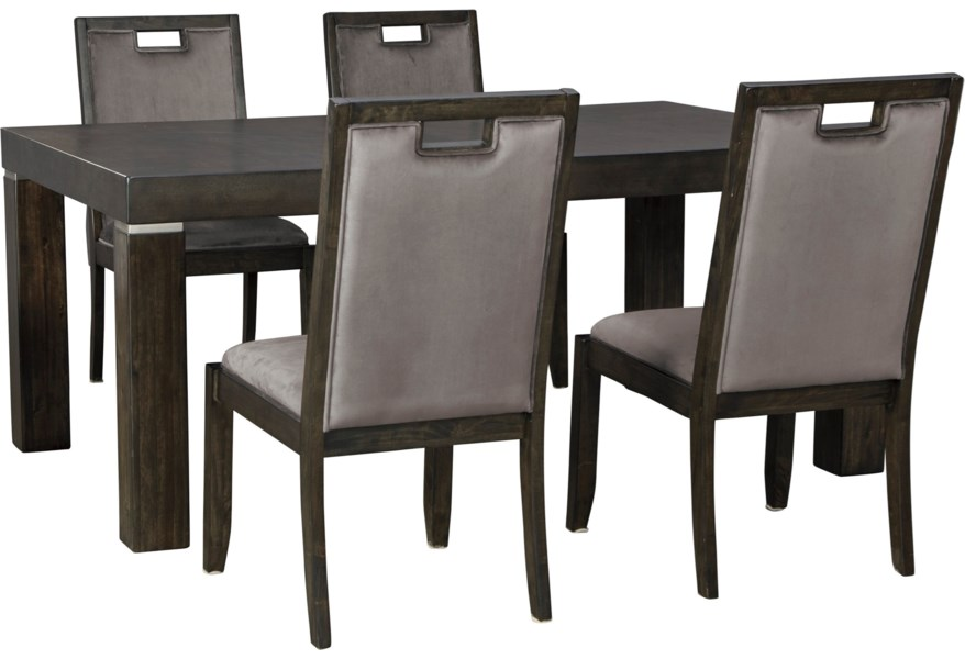 Signature Design By Ashley Hyndell 5 Piece Rectangular Dining Table Set Reid S Furniture Dining 5 Piece Sets