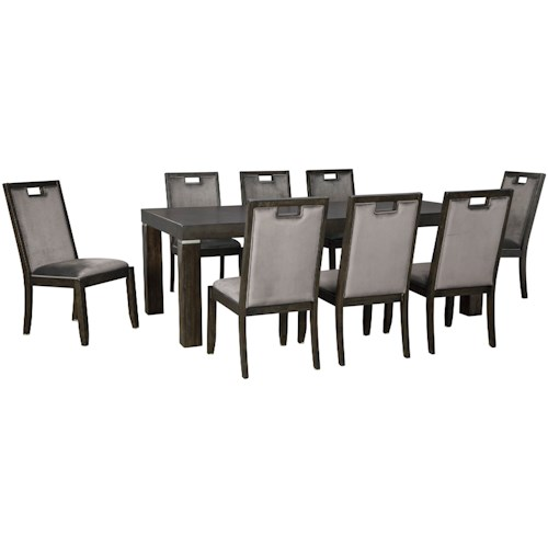 Signature Design by Ashley Hyndell 9-Piece Rectangular Dining Table Set