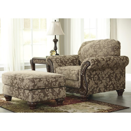 Signature Design by Ashley Irwindale Traditional Chair & Ottoman with Ornate Trim and Gold Finish Tipping